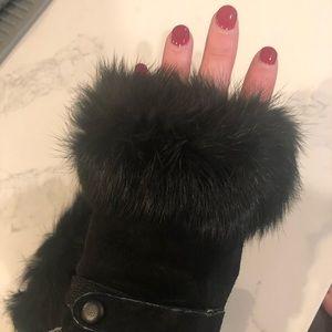 Black Real Fur Fingerless Gloves!